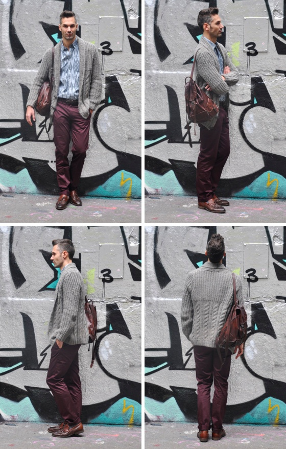 Out of the Graffitis, London, Thames river, look book, tendencias, hombre, Carles, skating rink, camisa, aztec pattern, jersey gris, pantalón granate, 4 views, PimPamMate