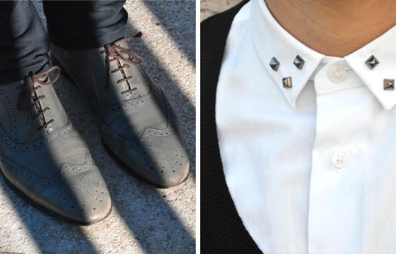 Probador, Mod style, Black&White, Parque de Joan Miró, Barcelona, Look Book, Tendencia, hombre, Carles, arquitectura moderna, jersey cuello redondo, camisa blanca, agua, reflejo, zapatos, gris, PimPamMate