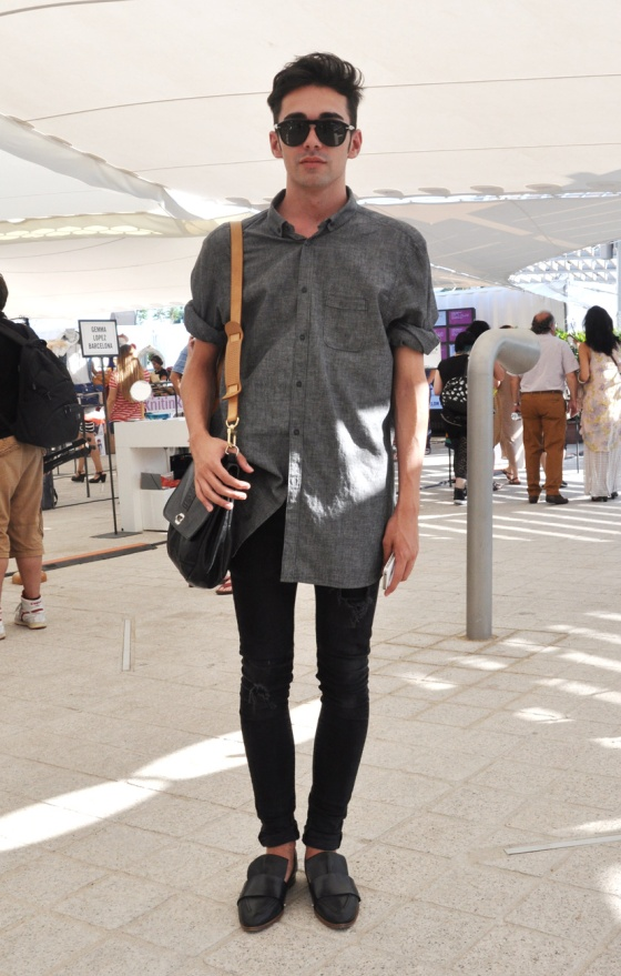 Made in Barcelona, 080 Barcelona Fashion, Summer edition, part 1, 2013, Street Style, Edificio Dhub, Museu Disseny Dhub, Les Glories, Carles, men trend, oversize, Persol, PimPamMate